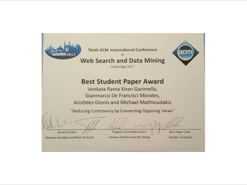Best Student Paper Award At Wsdm 2017 Helsinki Institute For